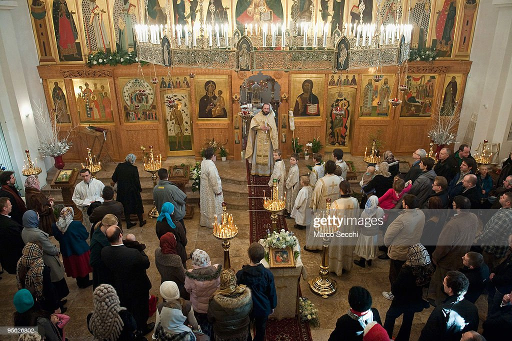 The Christmas Nativity Service is held at the London Russian Orthodox Cathedral of the Dormition of the Most Holy Mother of God and Holy Royal...