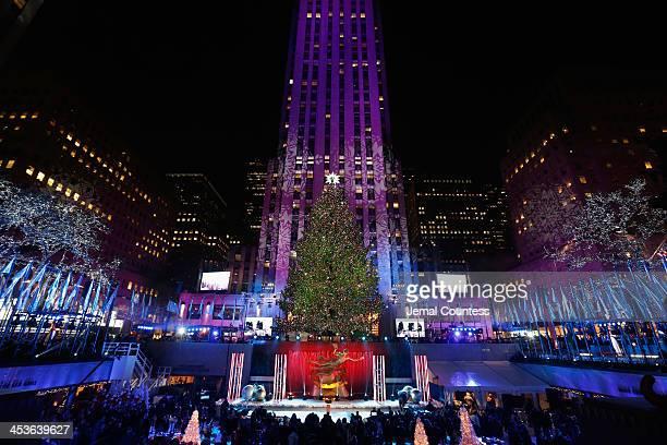 The Christmas Tree is lit during 81st Annual Rockefeller Center Christmas Tree Lighting Ceremony at Rockefeller Center on December 4 2013 in New York...