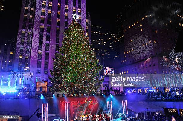 the christmas tree is lit during 81st annual rockefeller center tree