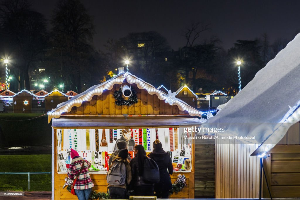 The Christmas Village at the Trocadéro (one of the largest Christmas markets) : Stock Photo