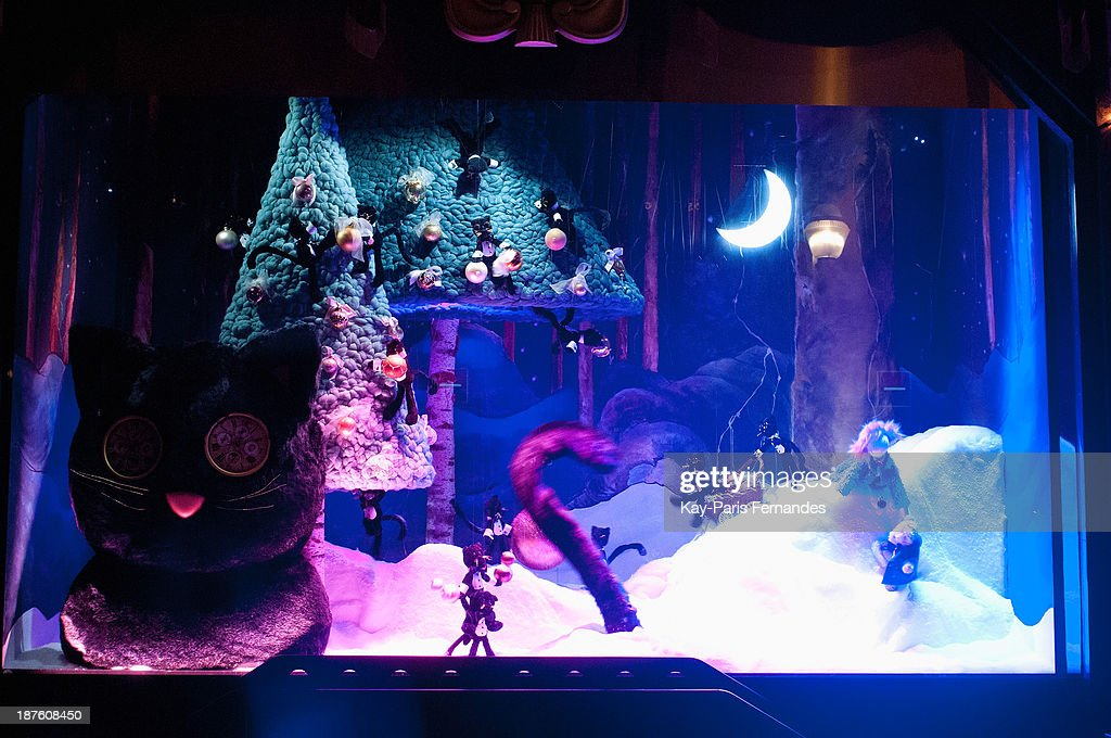 The christmas window display of Paris' department store at Galeries Lafayette on November 10, 2013 in Paris, France.