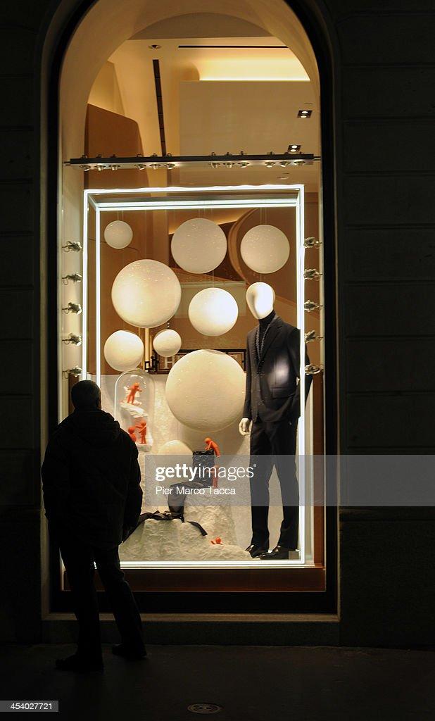 The Christmas window of Hermes in Via Montenapoleone in Milan on December 5, 2013 in Milan, Italy.