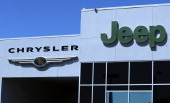 The Chrysler and Jeep logos are displayed on the exterior of a Chrysler Jeep and Dodge dealership on May 2 2011 in Vallejo California Chrysler...