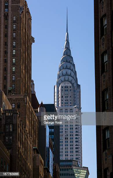 The Chrysler Building is viewed looking south from Lexington Avenue near 44th Street on October 21 2013 in New York City With a full schedule of...