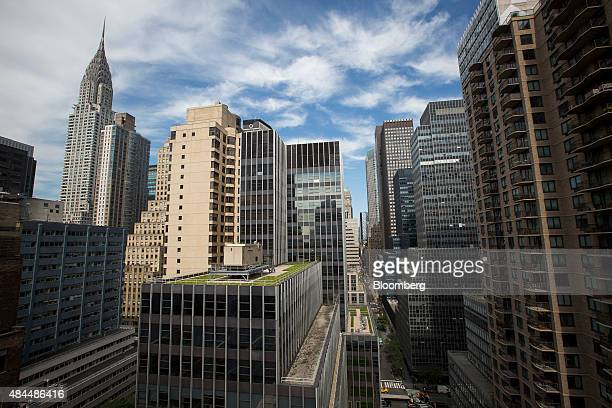 The Chrysler Building left and other properties are seen in a view from the AKA United Nations building in New York US on Wednesday Aug 5 2015 The...