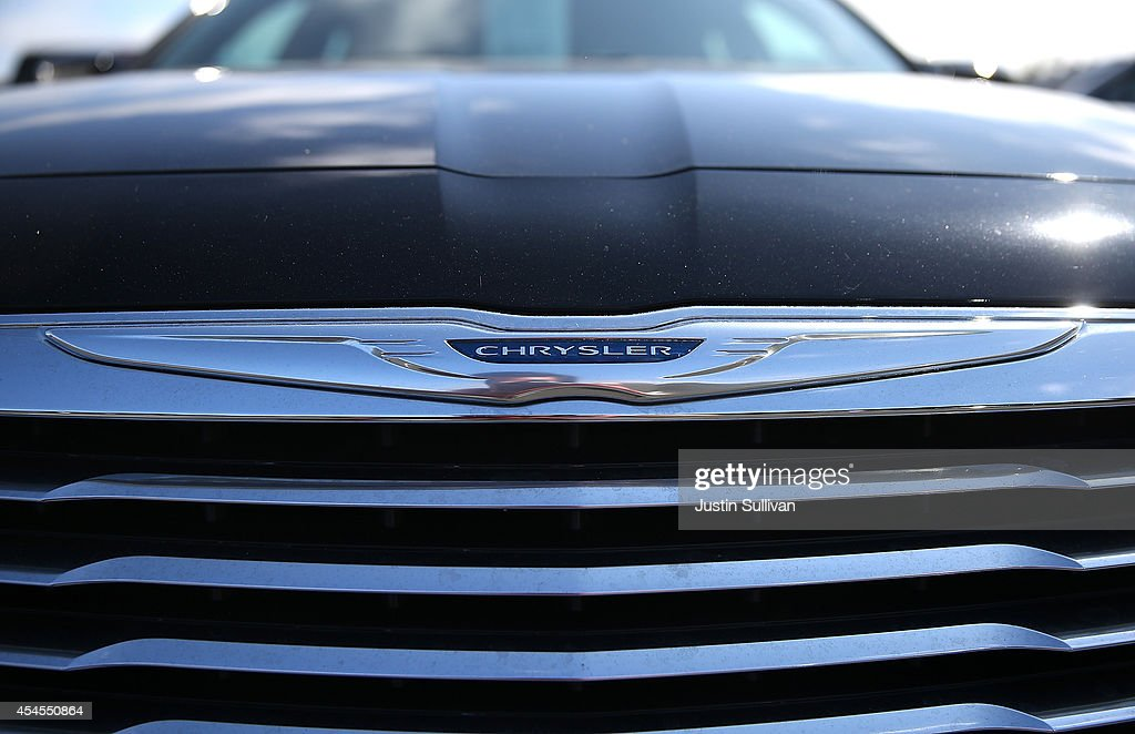 The Chrysler logo is displayed on a brand new Chrysler car at Chrysler Jeep Dodge Ram Marin on September 3 2014 in Corte Madera California Chrysler...