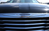 The Chrysler logo is displayed on a brand new Chrysler car at Chrysler Jeep Dodge Ram Marin on September 3 2014 in Corte Madera California Chrysler...