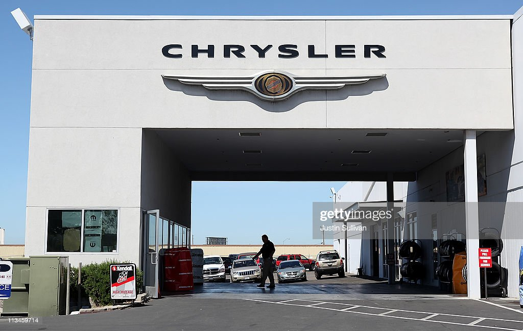 The Chrysler logo is displayed on the service department at a Chrysler Jeep and Dodge dealership on May 2 2011 in Vallejo California Chrysler...