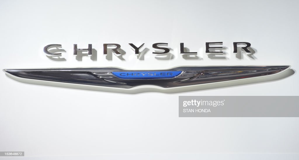 The Chrysler logo is seen during the first press preview day at the 2012 North American International Auto Show January 10 2012 in Detroit Michigan...