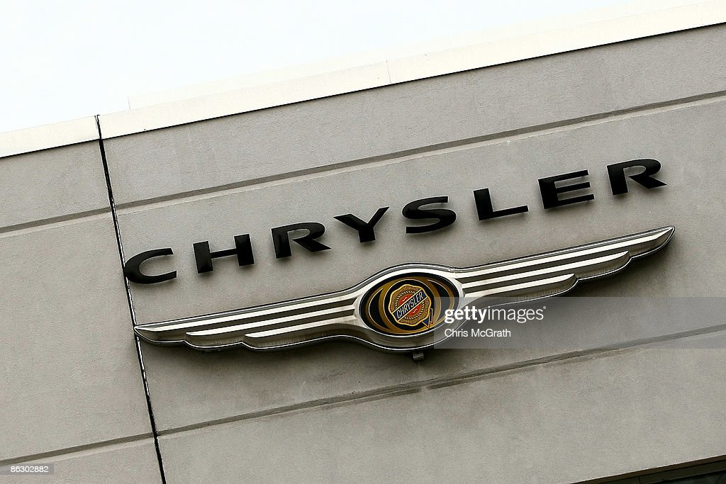 The Chrysler logo is seen on the outside of a dealership in Manhattan on April 30 2009 in New York City US carmaker Chrysler today announced it will...