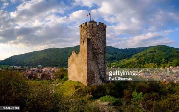 The Château de Kaysersberg is a ruined castle located in the vineyards surrounding the historical town