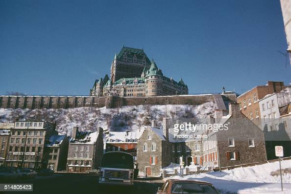 The Château Frontenac hotel in Quebec City Quebec Canada as seen from the shores of the St Lawrence River 1963