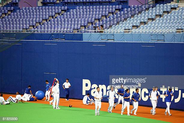 The Chunichi Dragons Players practice in Nagoya dome where a Central League game between The Chunichi Dragons and the Yomiuri Giants scheduled for...