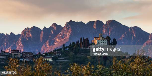 The church of Montevecchia at sunset. Resegone mountain in the background. Montevecchia, Lecco, Lombardy.