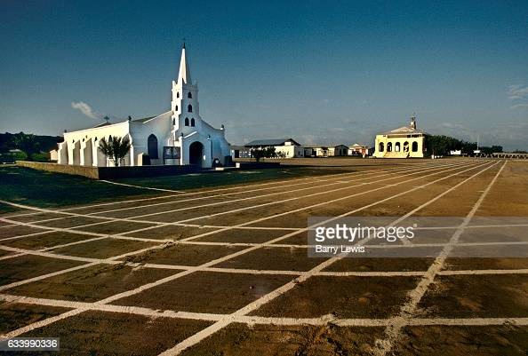 The church of St Marys in Georgetown overlooks the airfield 27th May 1997 on Ascension a small isolated volcanic island in the equatorial waters of...