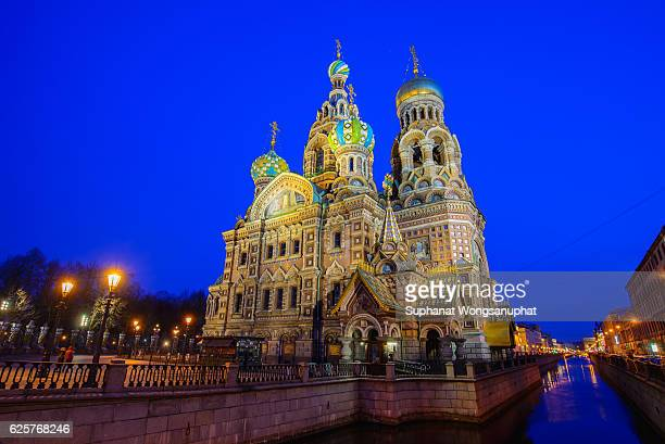 The Church of the Savior on Spilled Blood, one of the main sights of St. Petersburg, Russia. This Church was built on the site where Tsar Alexander II was assassinated and was dedicated in his memory.