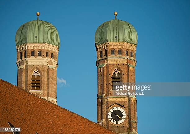 The church steeples of the Frauenkirche on October 28 2013 in Munich Germany
