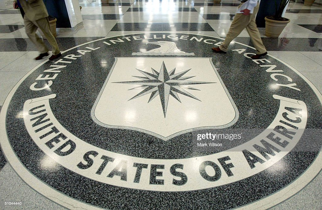 The CIA symbol is shown on the floor of CIA Headquarters, July 9, 2004 at CIA headquarters in Langley, Virginia. Earlier today the Senate Intelligence Committee released its report on the numerous failures in the CIA reporting of alleged Iraqi weapons of mass destruction.