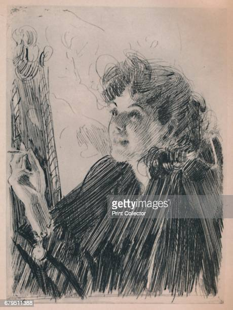 The Cigarette Dance' c1890s Print also known as 'Girl with Cigarette II' after Zorn's painting 'The Cigarette Girl' 1892 From The Etchings of the...