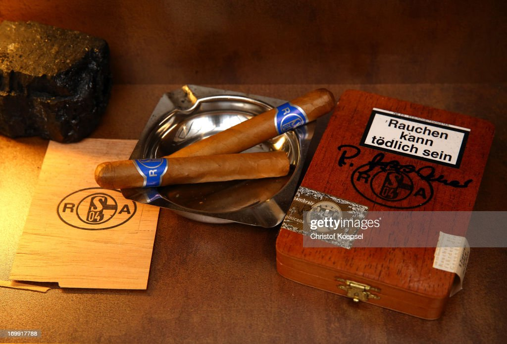The cigars of former manager Rudi Assauer are seen at Schachtschatz Museum coal-mine Hugo tray two on June 4, 2013 in Gelsenkirchen, Germany.