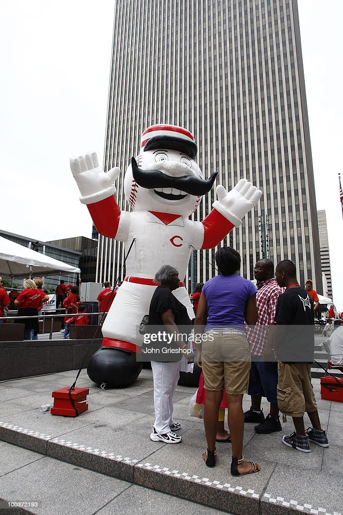 The Cincinnati Reds' mascot greeted young baseball fans to Fountain Square for the Civil Rights Game Youth Summit/Wanna Play Spectacular on Saturday, May 15, 2010, at Fountain Square in Cincinnati, Ohio.