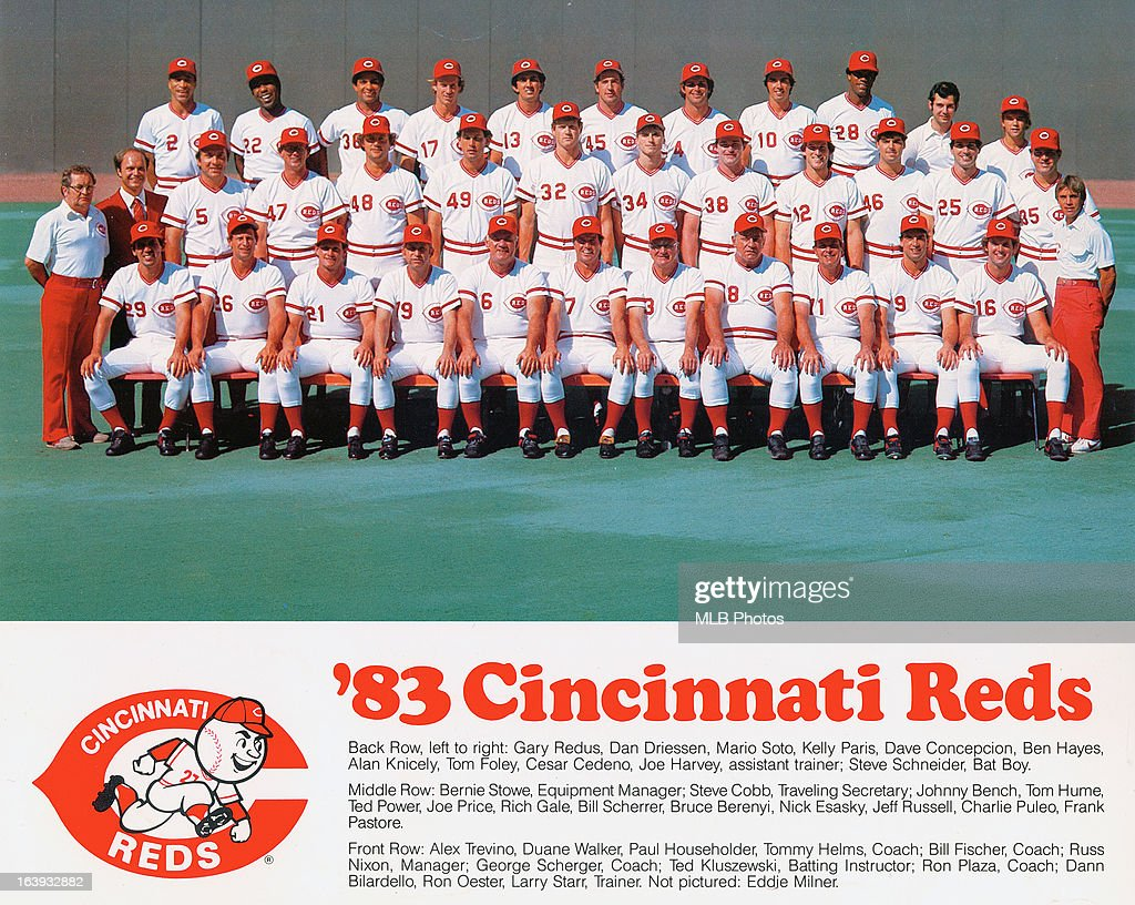 The Cincinnati Reds pose for a team photo during the 1983 Major League Baseball season at Riverfront Stadium in Cincinnati, Ohio.