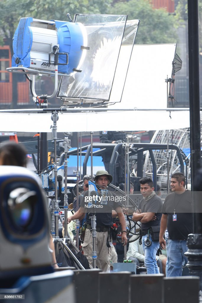 The Cinema Extras are seen waiting for instructions from the Director during the film set of the latest film of Godzilla: King of the Monsters on August 21, 2017 in Mexico cIty, Mexico