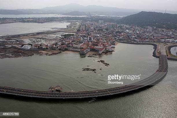 The Cinta Costera highway runs around the Casco Viejo district in the old part of town in this aerial photograph taken in Panama City Panama on...