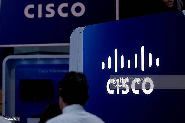 The Cisco System Inc logo is seen on the exhibit floor at the National Cable and Telecommunications Association Cable Show in Washington DC US on...