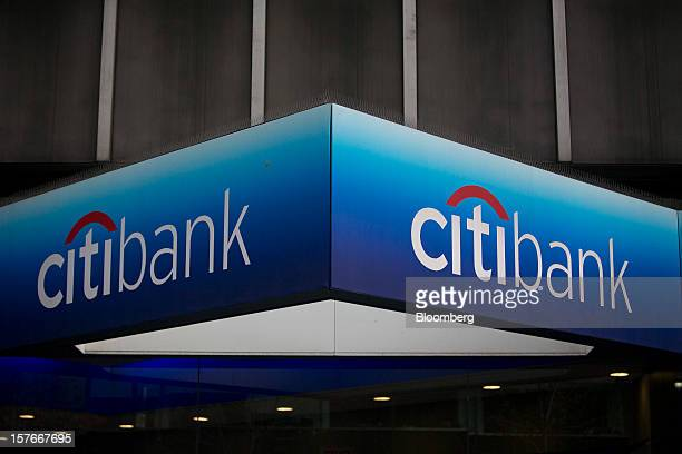 The Citibank logo is displayed above a branch located adjacent to Citigroup Inc headquarters in New York US on Thursday Sept 20 2012 Citigroup Inc...