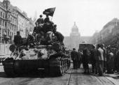 The citizens of Prague welcome the Red Army into Wenceslas Square at the end of World War II May 1945 In the background is the Prague National Museum