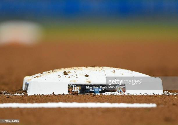 The Citrus Series first base during the game between the Miami Marlins and the Tampa Bay Rays at Marlins Park on May 1 2017 in Miami Florida