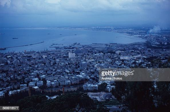 The city and port of Haifa in Israel April 1979