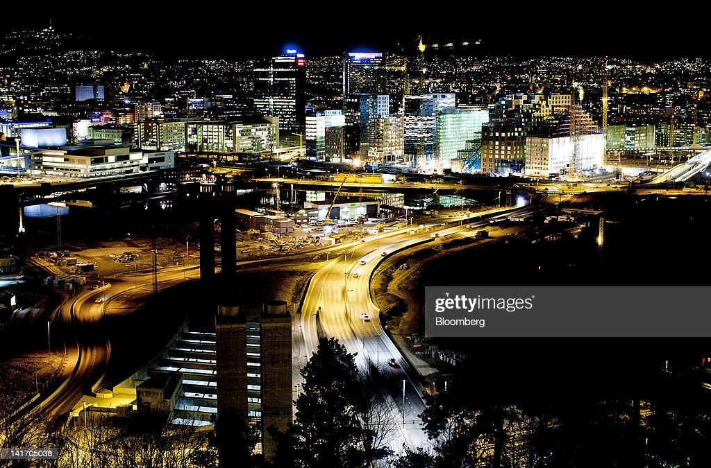 The city center skyline stands illuminated at night seen from the Ekeberg hill in Oslo Norway on Wednesday March 21 2012 Norway is moving closer to a...