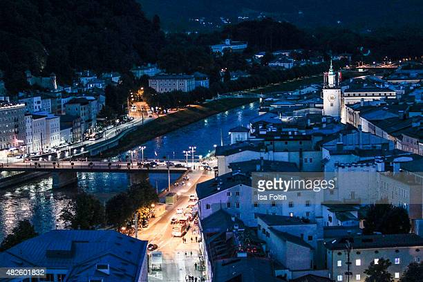The city centre is seen during the Audi Night 2015 on July 31 2015 in Salzburg Austria