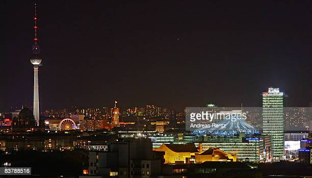 The City landmarks including TV Tower Sony Center and the Deutsche Bahn Tower at Potsdamer Platz are seen in the evening on November 22 2008 in...