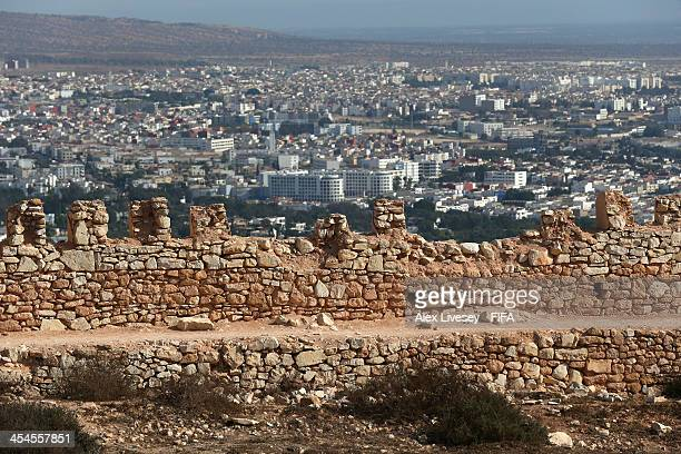The city of Agadir is seen beyond the walls of the original Kasbah which was built in 1572 on December 9 2013 in Agadir Morocco The Kasbah was partly...
