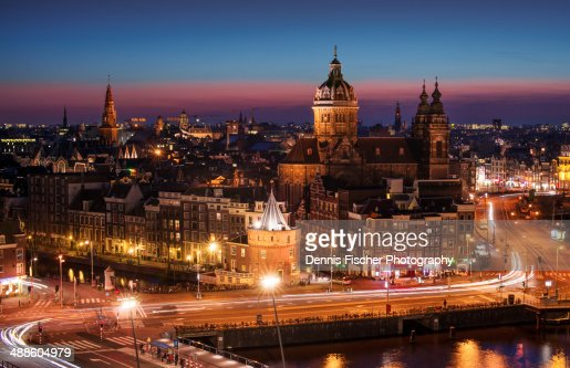The City Of Amsterdam At Night From Above Stock Photo