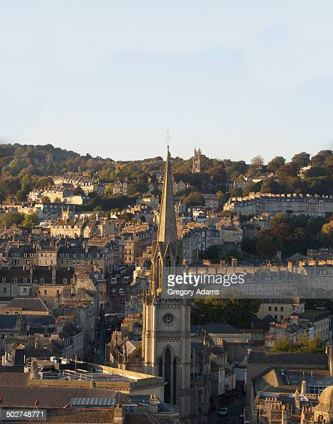 The City of Bath, England viewed from above