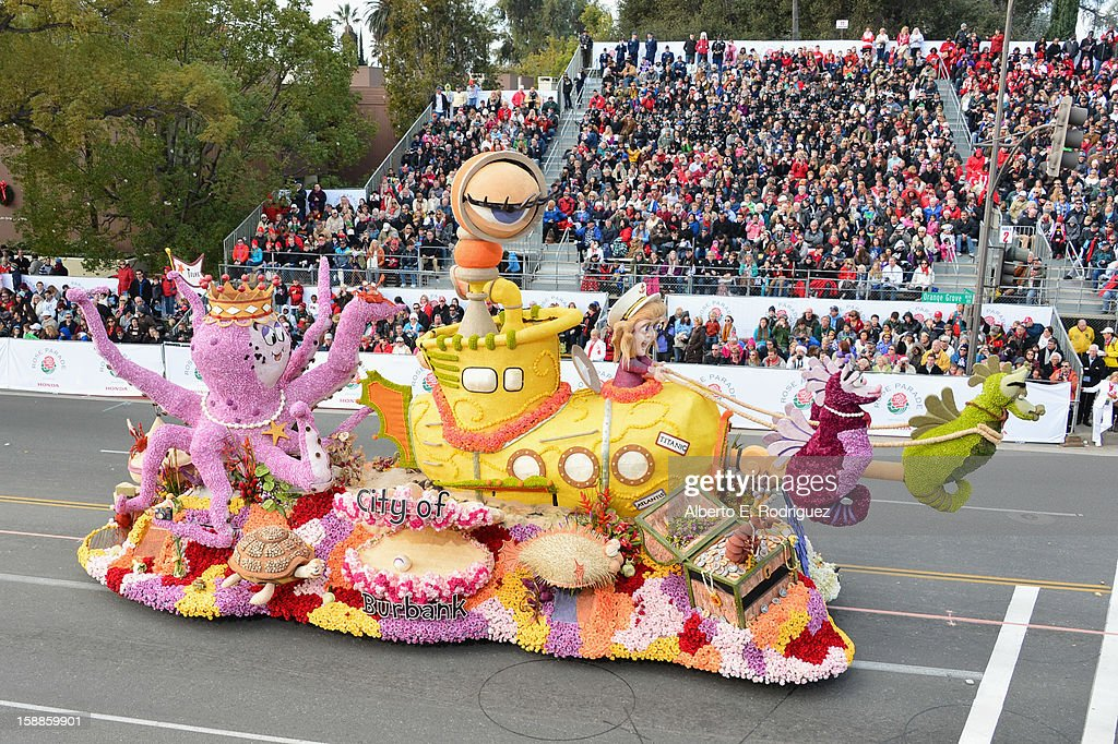 The City of Burbank float participates in the 124th Tournamernt of Roses Parade on January 1, 2013 in Pasadena, California.