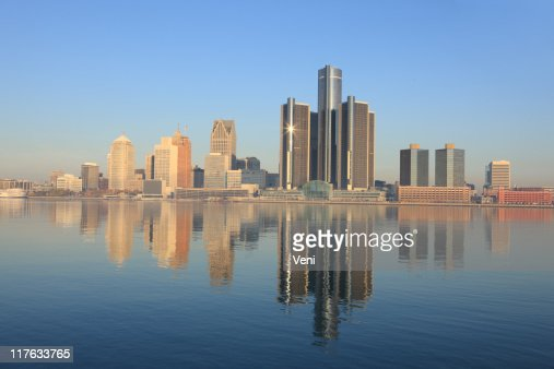 The city of Detroit, Michigan from across a lake
