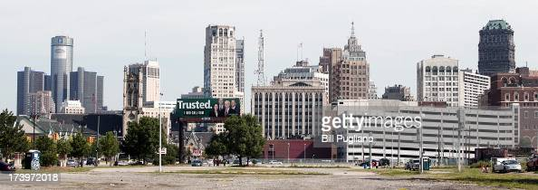 The city of Detroit's skyline is shown July 18 2013 in Detroit Michigan Detroit today filed for Chapter 9 bankruptcy making it the largest city to...