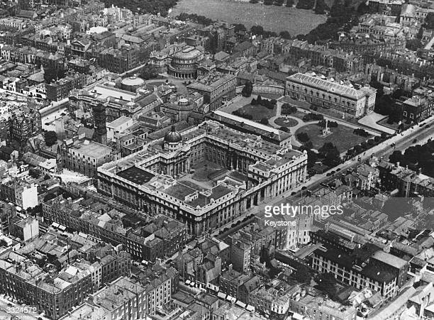 The city of Dublin in Ireland showing the Parliament building and the National Library amongst other landmarks