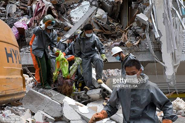 The city of Dujiangyan affected by a 79 magnitude earthquake is the most important city close to the epicentre Rescue workers search for bodies...