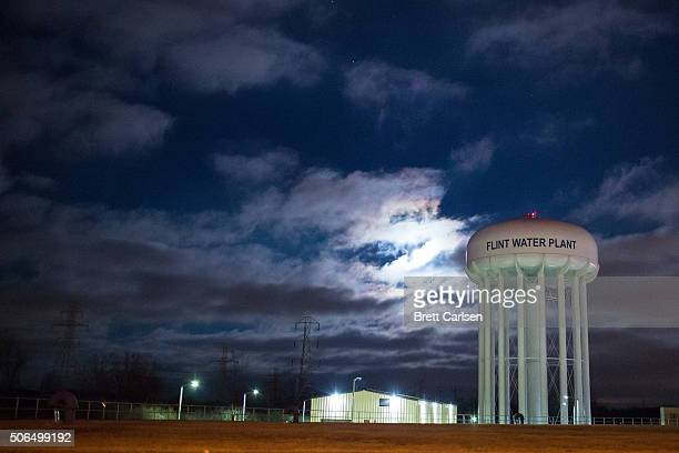 The City of Flint Water Plant is illuminated by moonlight on January 23 2016 in Flint Michigan A federal state of emergency has been declared in...