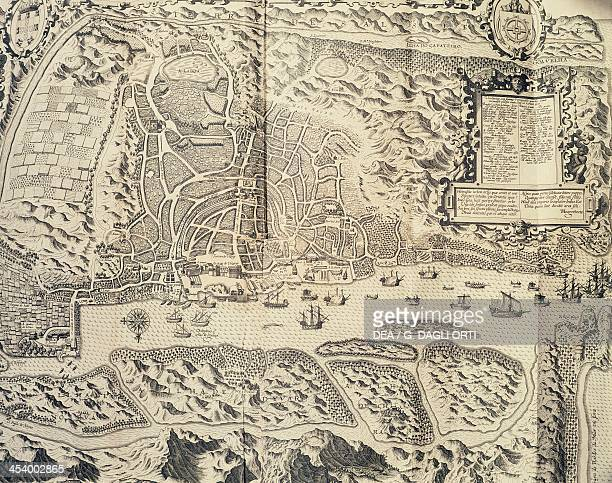 The city of Goa in India engraving by Theodor de Bry from Travel account of the voyage of the sailor Jan Huyghen van Linschoten to the Portuguese...