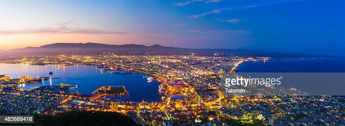The city of Hakodate in the twilight, panorama : Stock Photo