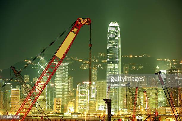 The city of Hong Kong being constructed