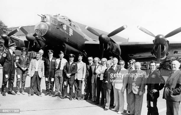 The City of Lincoln one of the few Lancaster bomners still flying parks up at at RAF Scampton for inspection by members of the Guinea Pig Club and...