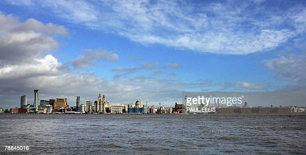 The city of Liverpool northwest England is seen from across the River Mersey 9 January 2008 The city's famous 'Three Graces' The Liver Building The...
